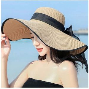 Bowknot Straw Hat Floppy Foldable UV Protection